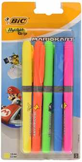 BIC Mario Kart Highlighter Grip Decor Surligneurs Pointe Biseautée - Couleurs Assorties, Blister de 5 992715