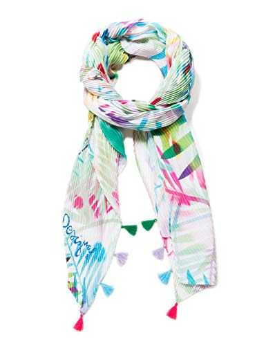 Desigual Rectangle Foulard Palm Woman White Echarpe, Blanc (CRUDO V 1002), Unique (Taille Fabricant: U) Femme