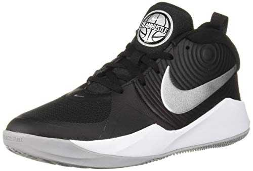 Nike Team Hustle D 9 (GS), Chaussures de Basketball Mixte Adulte, Multicolore (Black/Metallic Silver/Wolf Grey/White 000), 38.5 EU