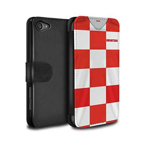 Stuff4 Coque/Etui/Housse Cuir PU Case/Cover pour Sony Xperia Z5 Compact/4.6 / Croatie/Croate Design/Coupe Monde 2018 Maillot Football Collection