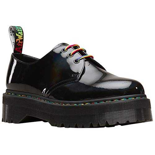 Dr. Martens Women's Quad Retro 1461 Lace Up Shoe Black Rainbow-Black-5 Size 5