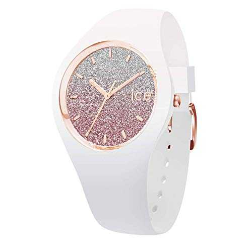Ice-Watch - Ice lo White Pink - Montre Blanche pour Femme avec Bracelet en Silicone - 013431 (Medium)