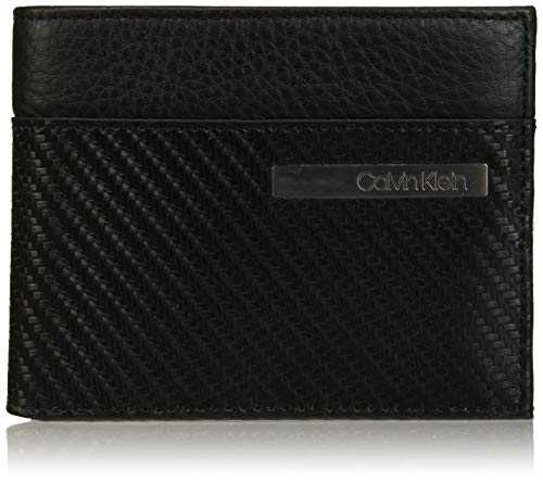 Calvin Klein Carbon Leather 10cccoinpass, portefeuille, Noir (Black), 12,5cm/9,5cm