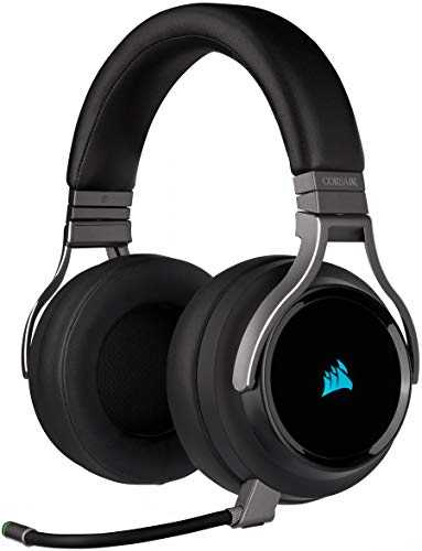 Corsair Virtuoso RGB Wireless Casque Gaming Haute Fidélité (Son Surround 7.1, Microphone Omnidirectionnel avec PC, Xbox One, PS4, Switch et Mobiles Compatibilité) Carbone