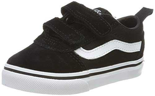 Vans Ward V-Velcro, Baskets Mixte bébé, Noir ((Suede/Canvas) Black/White Iju), 24 EU