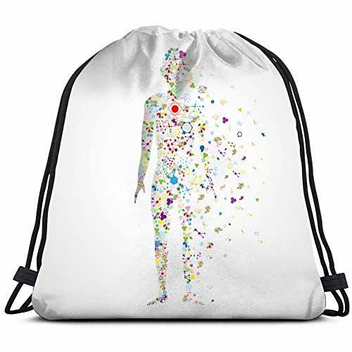 molecule concept human body model dna healthcare medical Drawstring Backpack Gym Sack Lightweight Bag Water Resistant Gym Backpack for Women&Men for Sports,Travelling,Hiking,Camping,Shopping Yoga