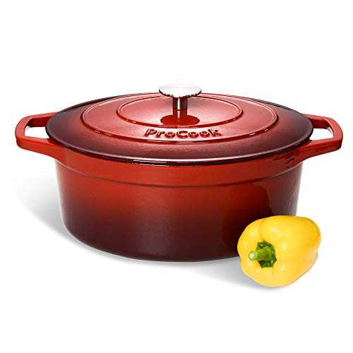 ProCook - Grande Cocotte Faitout Oval - Fonte Émaillée - Compatible Induction - Dégradé Rouge - 30 cm / 6,2 L
