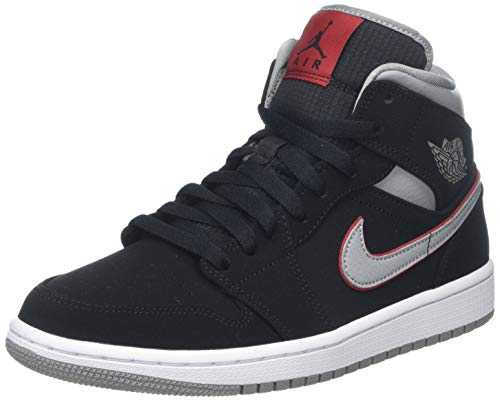 Nike Air Jordan 1 Mid, Chaussures de Basketball Homme, Noir (Black/Particle Grey/White/Gym Red 060), 44 EU