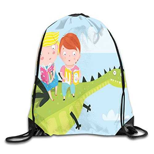 Jebnpse Printed Drawstring Backpacks Bags,Cute Boy and Girl Sitting and Reading on A Dragon Flying Up in The Sky Fairytale,Adjustable String Closure