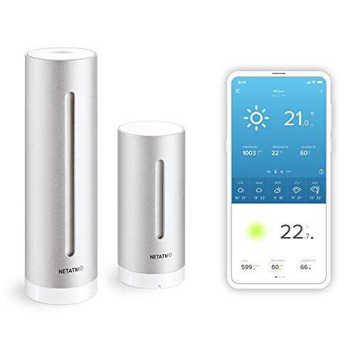 Netatmo Station Météo Intérieur Extérieur Connectée Wifi, Capteur Sans fil, Thermomètre, Hygromètre, Baromètre, Sonomètre, Qualité de l'air - Compatible Amazon Alexa et Apple Homekit, NWS01-EC