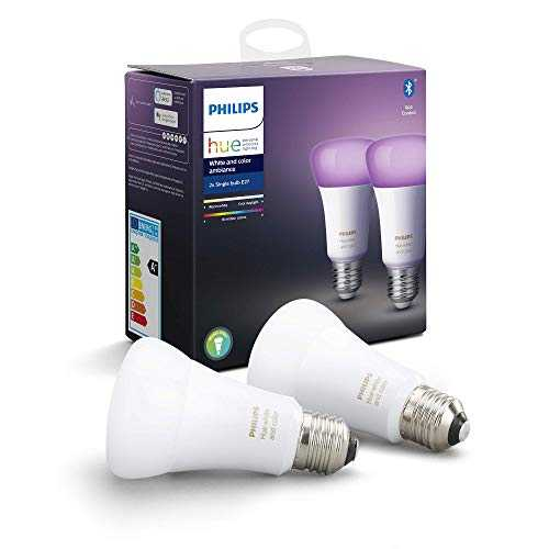 Philips Hue Ampoules LED Connectées White & Color Ambiance E27 Compatible Bluetooth, Fonctionne avec Alexa Pack de 2