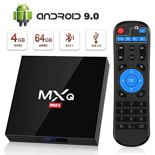 Android 9.0 TV Box BT4.1 [4GB RAM+64GB ROM] Boîtier TV 3D+4K [2019 Dernière Version] USB3.0 SUPERPOW Android 9.0 Smart TV, avec HD/H.265 / 4K / 3D / BT4.1/ RK3328