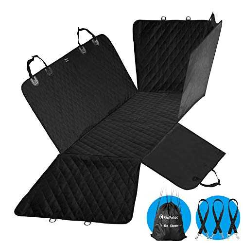 GoPetee Protection Tapis Coffre Chien Voiture Couverture de Protection Housse Siege Protection de Banquette Arrière Antidérapant Anti-Rayures Impermeable 147x137cm pour Voiture SUV Camion Voyage
