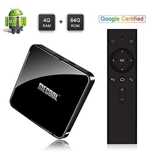 Sidiwen Mecool KM3 Android 9.0 TV Box avec télécommande vocale Google Certified 4 Go RAM 64 Go ROM Amlogic S905X2 Quad Core Dual WiFi 2,4 G/5 G Ethernet Bluetooth USB 3.0 Support 3D 4K HDR Ultra HD