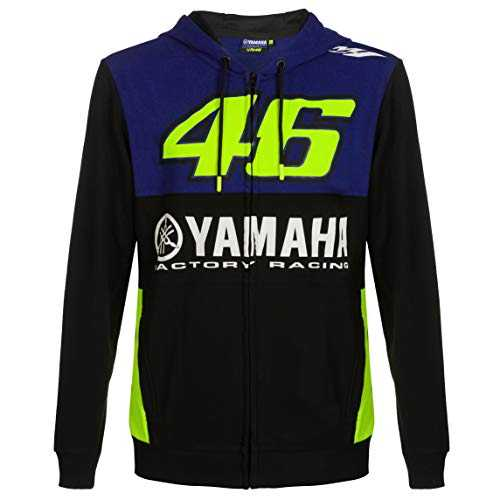 2019 Valentino Rossi VR46 Sweat à Capuche pour Homme Officiel Yamaha Factory Racing, Bleu, Mens (XL) 116cm/46 inch Chest