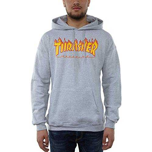 SWEAT À CAPUCHE THRASHER MAGAZINE FLAME LOGO GRIS - small, gris