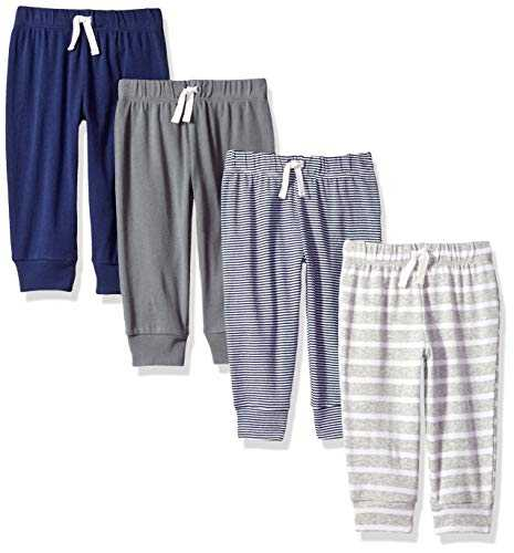 Amazon Essentials 4 Pull Infant Toddler-Pants, Solid, Stripe, Navy and Grey Pack, Newborn