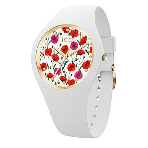 Ice-Watch - Ice Flower White Poppy - Montre Blanche pour Femme avec Bracelet en Silicone - 016665 (Medium)