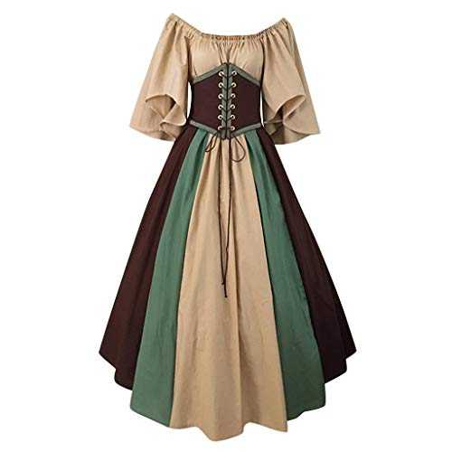 Wolfleague Halloween Medievale Victorienne Reine Cosplay Partie Costume Gown Costume Col V avec Manches Flares (XXL, Café)