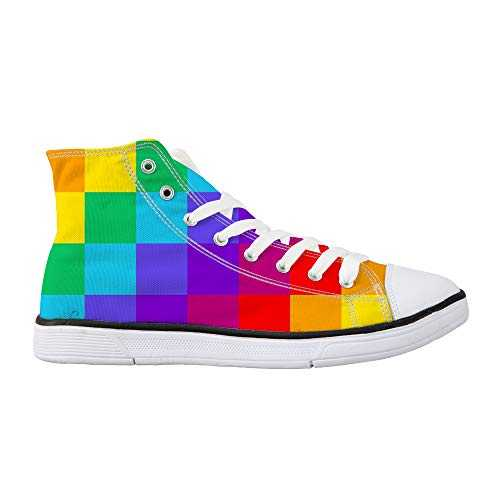 Nopersonality Rainbow Check High Top Sneakers Women Canvas Trainers Comfort Casual Flats Walking Gym Shoes for Outdoor Walking School