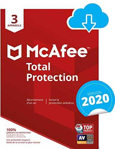 McAfee 2020 Total Protection | 3 Appareils | 1 An | PC/Mac/Android/Smartphnoes | Download Code