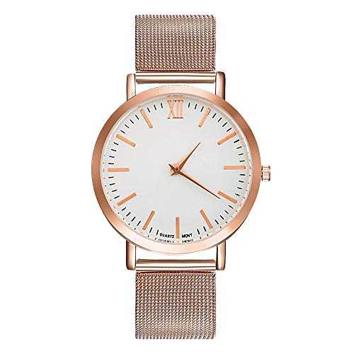 Souarts Femme Montre Bracelet Quartz Analog Cadran Style Simple Sangle en Maille Acier