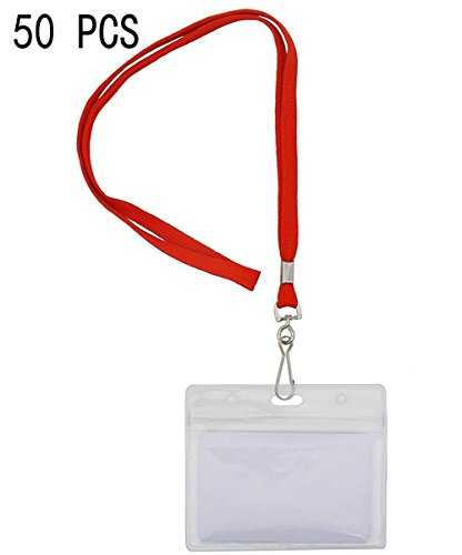 Bird Fiy Cordon pour badge de/paires (lot de 50, Rouge) : tissé Round Lanyard & horizontal étanche en plastique transparent refermable carte d'identité Nom Tag support