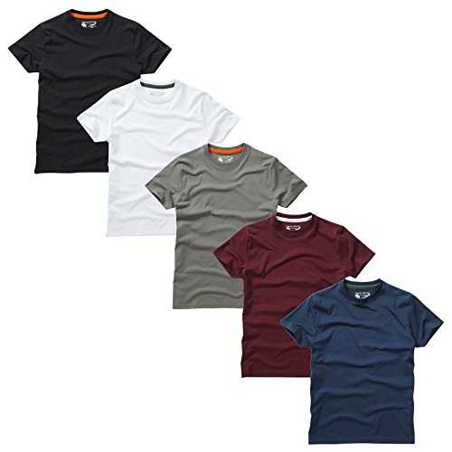 Charles Wilson Pack de 5 T-Shirts Unis à Col Rond (Large, Essentials Type 22)