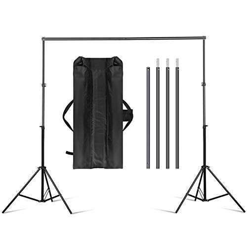 amzdeal Support de Fond 3m * 2m Réglable Ajustable pour Studio Photo, Hauteur 70-200cm, Largeur 75-300cm, Support en Aluminium Solide Durable pour Prendre Photo Portrait Vidéo, Sac de Transport Inclus