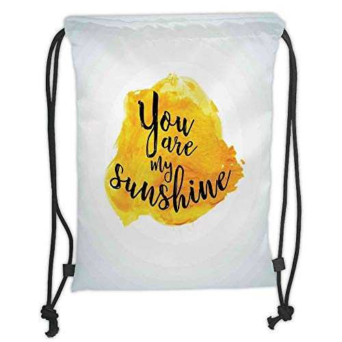 Icndpshorts Drawstring Backpacks Bags,Quotes Decor,Inspirational Phrase on Watercolors Irregular Set Motto Mindful Life Image,Yellow Black Soft Satin,5 Liter Capacity,Adjustable String Closure