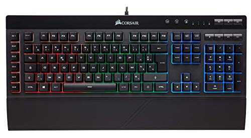 Corsair K55 Clavier Gaming (Rétro-Éclairage RGB Multicolore, AZERTY) Noir