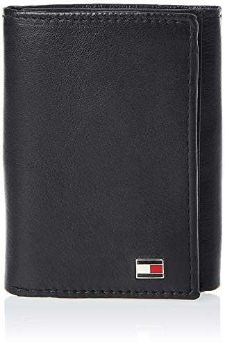 Tommy Hilfiger Men´s Leather Trifold Wallet,Oxford Black