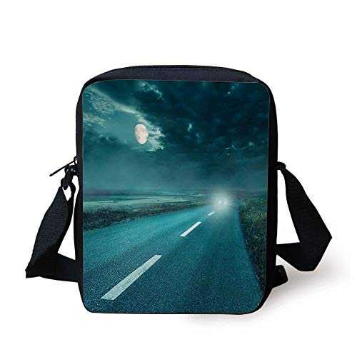 Horror House Decor,Highway Road to Hell under Storm Clouds Asphalt Twilight Terror Image Artwork,Blue Print Kids Crossbody Messenger Bag Purse