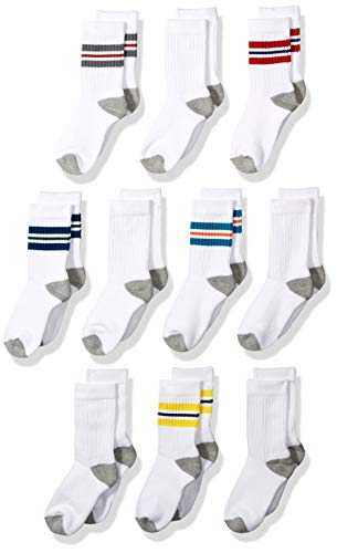 Amazon Essentials Lot de 10 paires de Chaussettes en coton, style universitaire, pour garçons, White With Color Stripe/White With Grey Heather Heel, Toe, Medium (Shoe Size: 9-2.5)