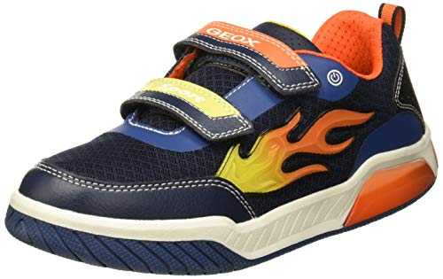 Geox J Inek Boy C Baskets Basses garçon, Bleu (Navy/Orange C0659) 37 EU