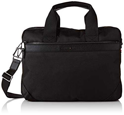 Tommy Hilfiger Elevated Nylon Computer Bag, Sacs portés épaule homme, Noir (Black),
