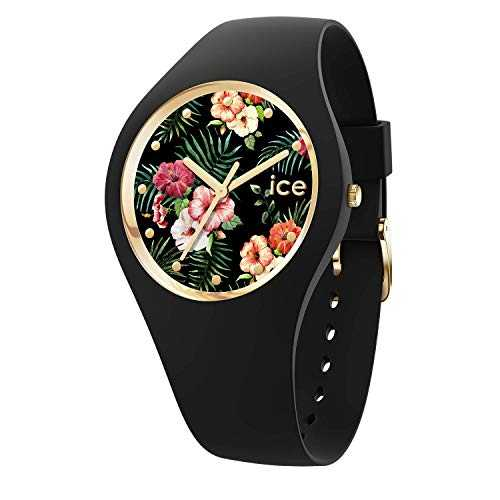 Ice-Watch - Ice Flower Colonial - Montre Noire pour Femme avec Bracelet en Silicone - 016671 (Medium)