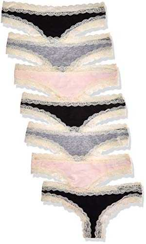 Iris & Lilly BELK015M7 Tanga, Multicolour (Black/Melange/Soft Pink), 12 (Size:M), Lot de 7