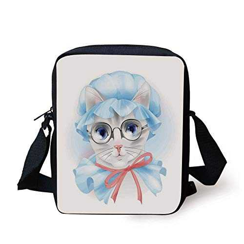 WITHY Cat,Granny Grandma Old Kitty with Her Old Fashioned Pyjamas and Reading Glasses Artsy,Blue Pink Grey Print Kids Crossbody Messenger Bag Purse