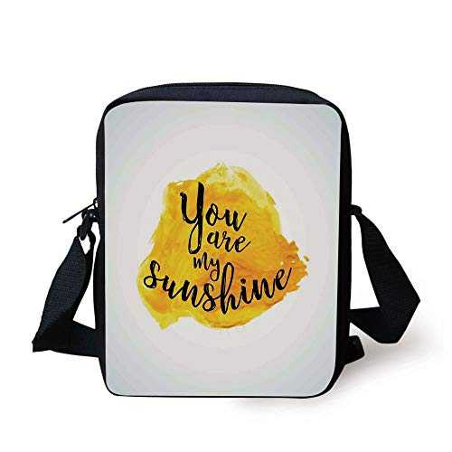 Quotes Decor,Inspirational Phrase on Watercolors Irregular Set Motto Mindful Life Image,Yellow Black Print Kids Crossbody Messenger Bag Purse