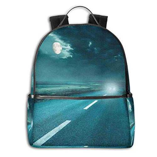 College School Backpacks,Highway Road to Hell Under Storm Clouds Asphalt Twilight Terror Image Artwork Print,Casual Hiking Travel Daypack