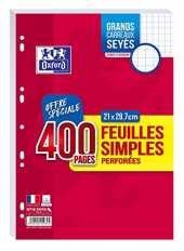 Oxford Lot de 400 Pages Feuilles Simples Grands Carreaux Seyès Format A4 (21x29,7cm) Perforées