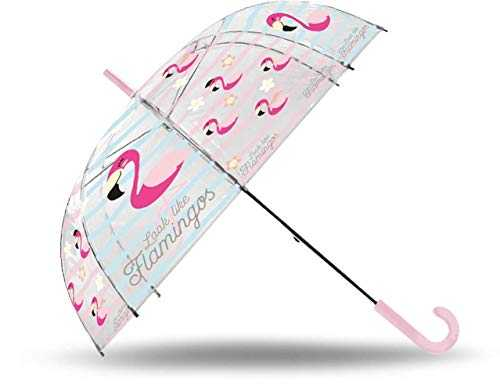 Kids Parapluie Transparent Automatique 50 cm Fibre de Verre de Flamants Roses Parapluie Classique, 80 cm, Multicolore