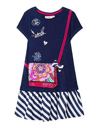 Desigual Girl Knit Dress Short Sleeve (Vest_Carson) Robe, Bleu (Navy 5000), 152 (Taille Fabricant: 11/12) Fille