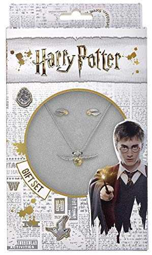 HARRY POTTER Ensemble Collier et Boucles d´oreille en Or avec piqué d´or