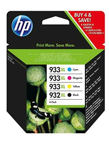 HP 932XL/933XL C2P42AE pack de 4, cartouches d'encre Authentique, imprimantes HP OfficeJet, Noir, Cyan, Magenta et Jaune
