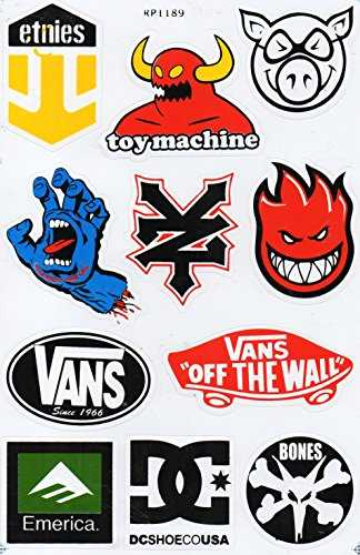 Planche de sticker spécial a4 dC sANTA cRUZ zOO yORK eTNIES aLIEN wORKSHOP skate eLEMENT sticker skateboard autocollant