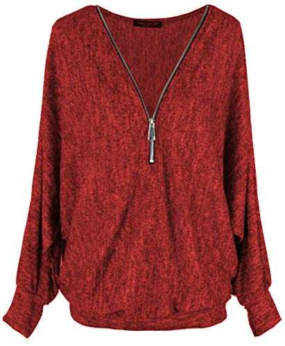 Emma & Giovanni - Top Pull Ample Fermeture Zip - Femme (XL/XXL, Rouge)