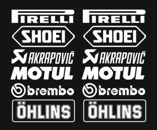1 x kit n° 3 (12 autocollants, blanc, choix de couleur) PIRELLI AKRAPOVIC Tuner Logo 16 cm Decal Tuning Autocollants voiture moto Pick Up