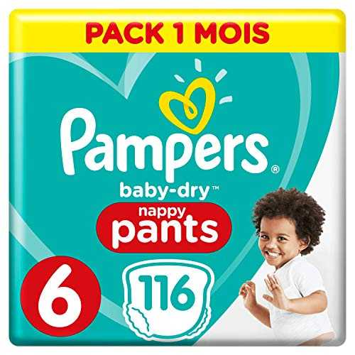 Pampers - Baby Dry Pants - Couches-culottes Taille 6 (+15 kg) - Pack 1 mois (x116 culottes)